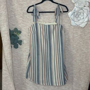 [madison & berkeley] Striped Linen Shift Dress